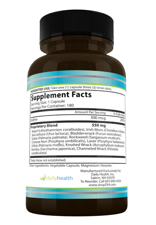 Seatrition supplement facts sea vegetable seaweed capsules