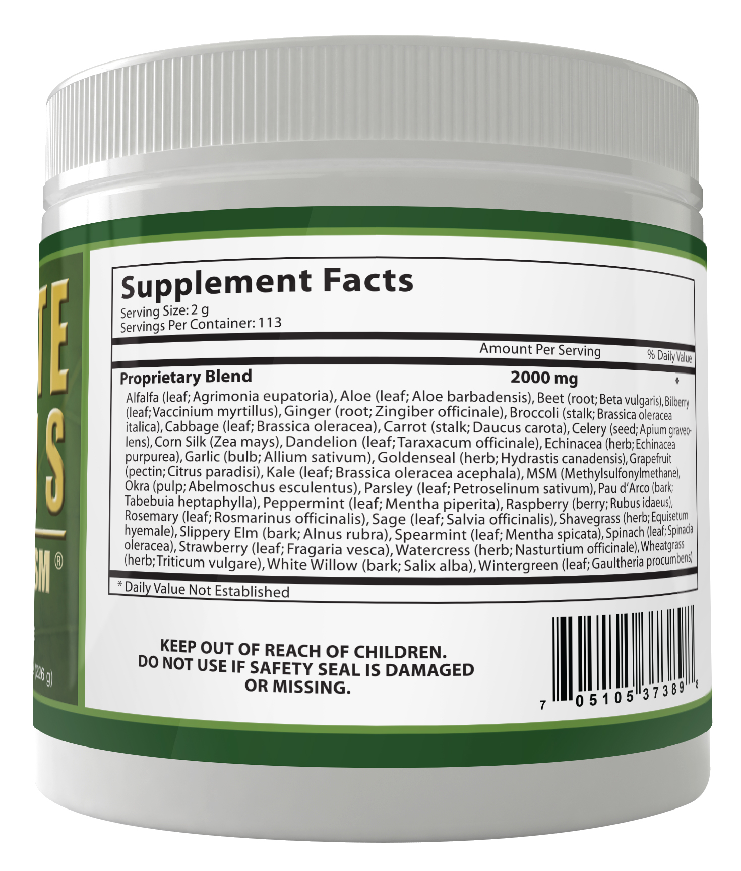 Ultimate Greens with MSM Powder 2000mg 8oz (1 month supply)