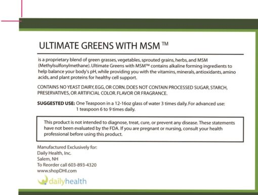 ultimate daily greens with msm powder description vitamins minerals alkaline ingredients plant proteins