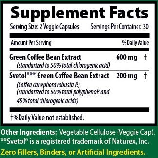 Svetol Pure Green Coffee Bean Supplement Facts